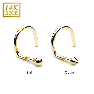 Cone or Ball Top 14K Solid Gold Nose Screw Ring