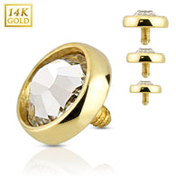14 Karat Solid Yellow Gold Flat Dome CZ Dermal Anchor Top