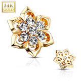 14 Kt. Solid Gold 6 mm Double Tired CZ Flower Dermal Anchor Top