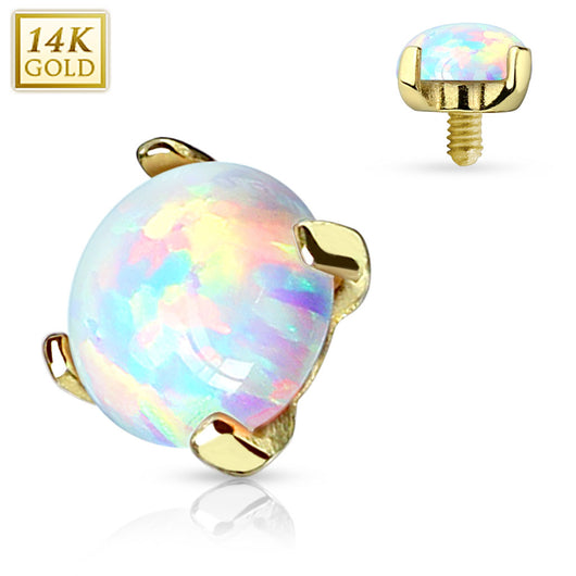 14 Karat Solid Yellow Gold Opal Dermal Anchor Top