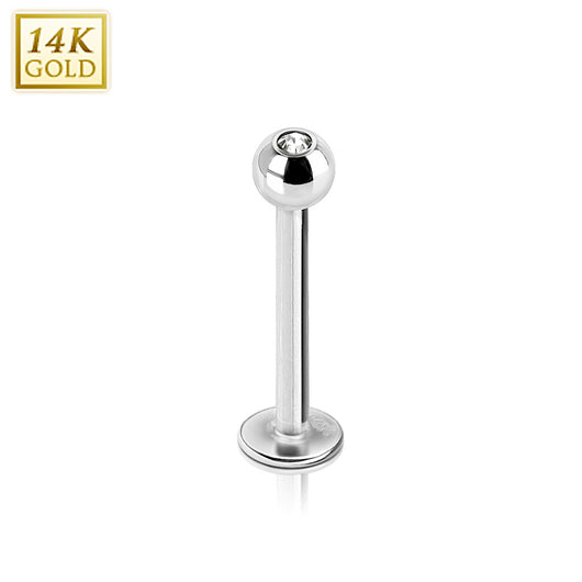 Clear CZ Top 14K Solid White Gold Labret Monroe Stud