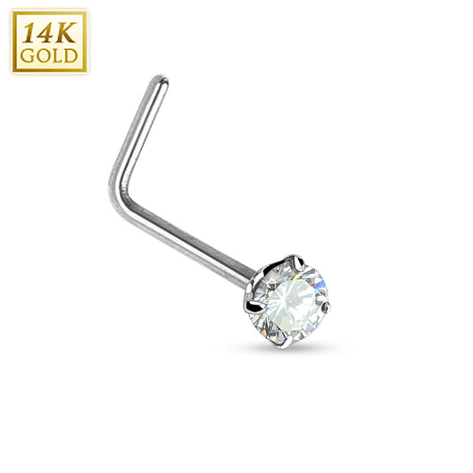 Prong Set Round CZ 14K White Solid Gold L Bend Nose Stud Ring