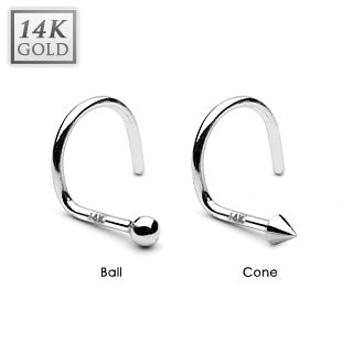 Cone or Ball Top 14K White Solid Gold Nose Screw Ring