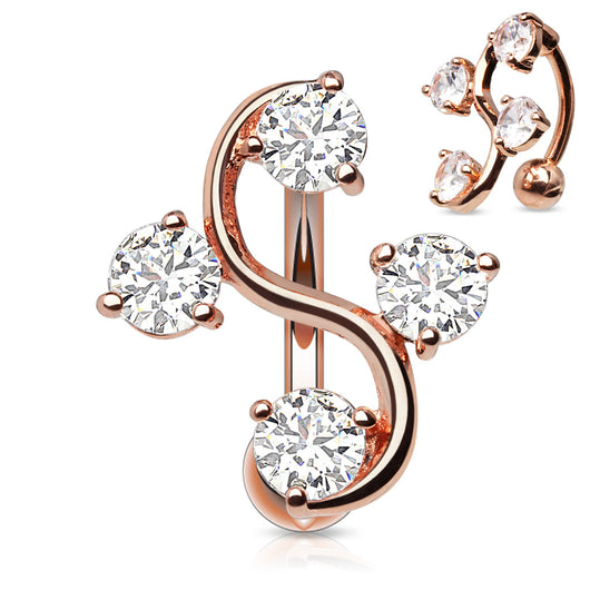 CZ Vine Top Down Rose Gold Plated Belly Button Navel Rings