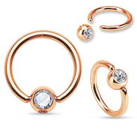 Rose Gold IP Over 316L Surgical Steel CZ Set Ball Captive Bead Ring