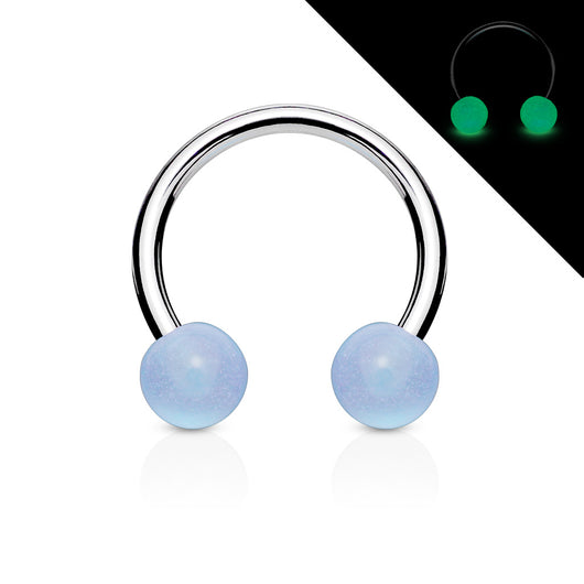 Glow in the Dark Balls 316L Surgical Steel Horseshoe Circular Barbells