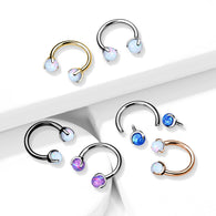 Claw Set Opal Balls Horseshoe Circular Barbells For Cartilage Daith Septum