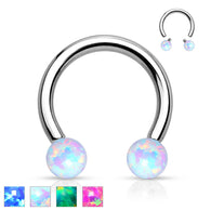 Synthetic Opal Balls 316L Surgical Steel Horseshoe Circular Barbells