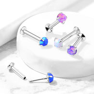 Push In Prong Set Opal Top Threadless Stud For Lip Labret Ear Cartilage Helix 20G