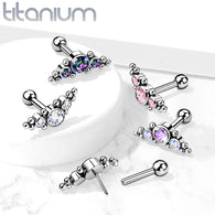 Titanium Threadless Push-In Cartilage Barbell Stud with CZ Ball