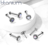 Threadless Push-In Labret Flat Back Flower Stud with CZ Cluster