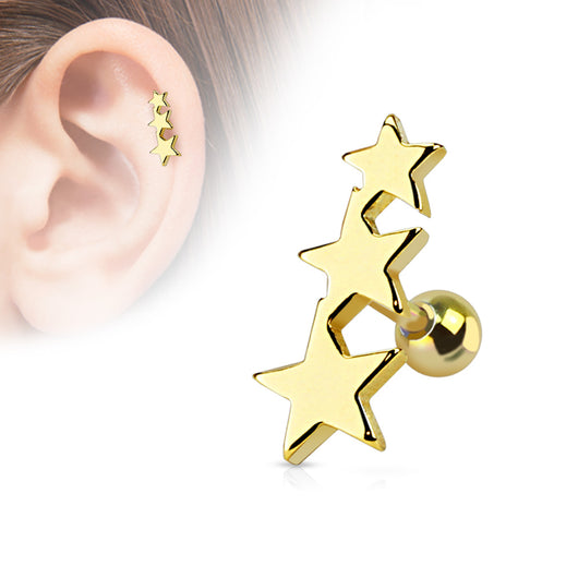 Three Stars Ear Cartilage Tragus Helix Barbell Studs