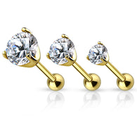 3 Size Prong Set CZ 14Kt. Gold IP Ear Cartilage Tragus Triple Helix Barbell Studs