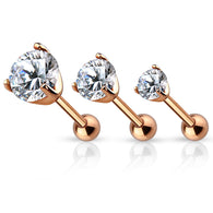 Prong Set CZ Rose Gold Ear Cartilage Tragus Triple Helix Barbell Studs 3 Size