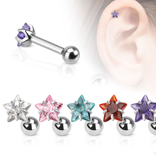 Star CZ Pronged Ear Cartilage Tragus Helix Barbell Studs