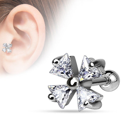 Triangle CZ Shamrock Surgical Steel Cartilage Helix Tragus Bar