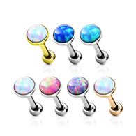 Opal Set Flat Top Cartilage Helix Tragus Barbell Stud