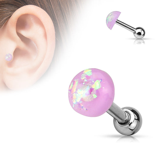 Opal Glitter Dome Top Ear Cartilage Tragus Helix Barbell Studs