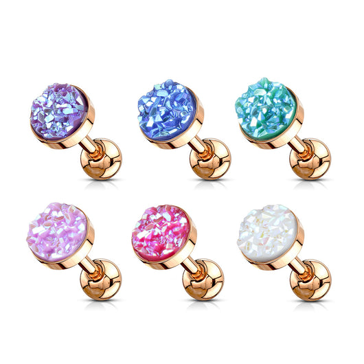 Rose Gold Druzy Stone Surgical Steel Cartilage Helix Tragus Barbell Stud