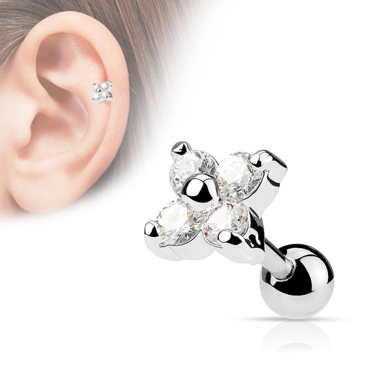 Flower CZ Ear Cartilage Tragus Helix Barbell Studs