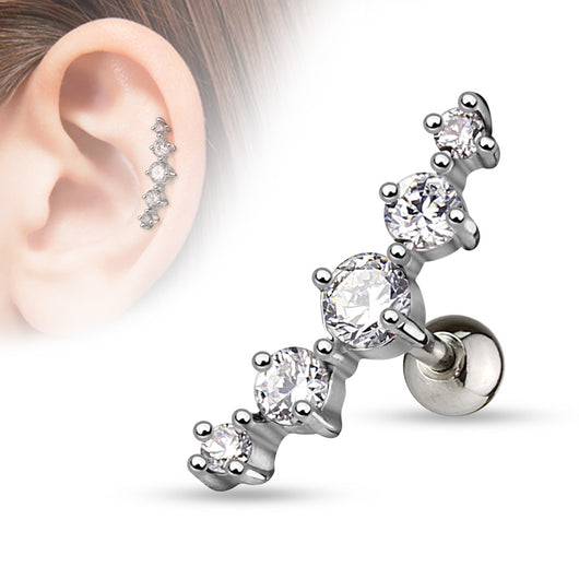 Journey Curve 5 CZ Ear Cartilage Tragus Helix Barbell Studs