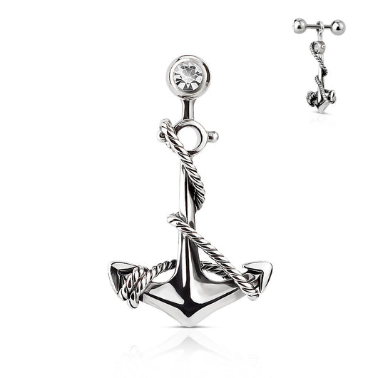 Anchor Dangle 316L Surgical Steel Tragus/Cartilage Barbell