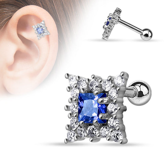 Sapphire Blue CZ Surgical Steel Cartilage Helix Tragus Barbell
