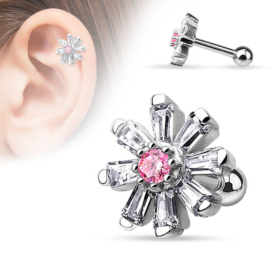 CZ Petal Flower Surgical Steel Cartilage Tragus Helix Barbell