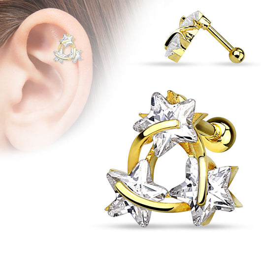 Star CZ 14Kt Gold Plated Surgical Steel Cartilage Tragus Helix Barbell