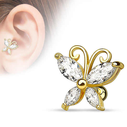 CZ Butterfly 14Kt. Gold Plated Cartilage Tragus Helix Barbell Stud