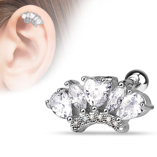 Marquise Pear CZ Fan Surgical Steel Cartilage Tragus Helix Barbell