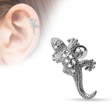 CZ Paved Lizard 316L Surgical Steel Cartilage/Tragus Bar