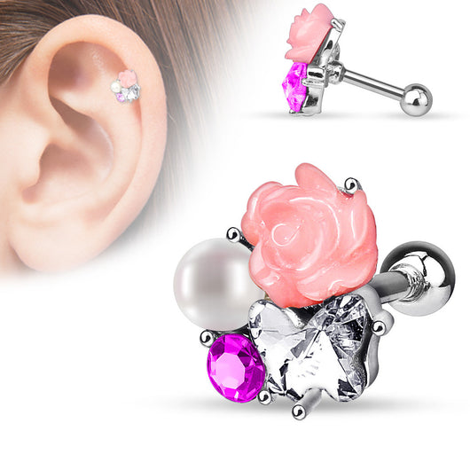 CZ Pearl Flower Surgical Steel Cartilage Helix Tragus Barbell Stud