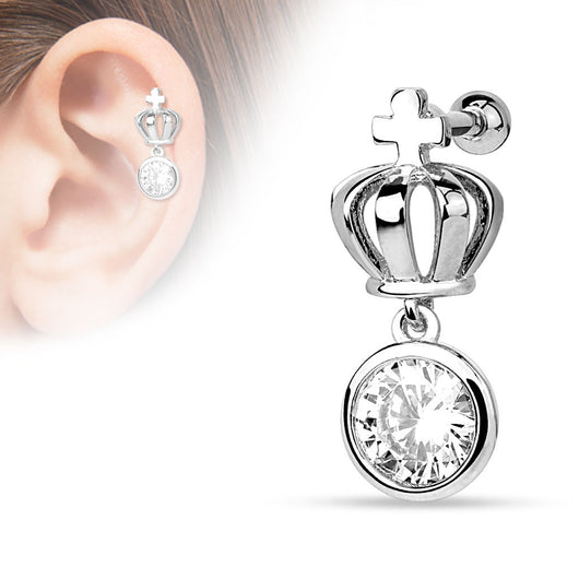 Crown CZ Dangle Surgical Steel Cartilage Tragus Helix Barbell Stud