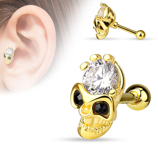 Skull CZ 14Kt Gold Plated Surgical Steel Cartilage Tragus Barbell