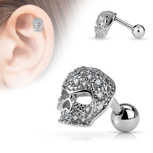Micro CZ Paved Skull 316L Surgical Steel Cartilage/Tragus Barbells