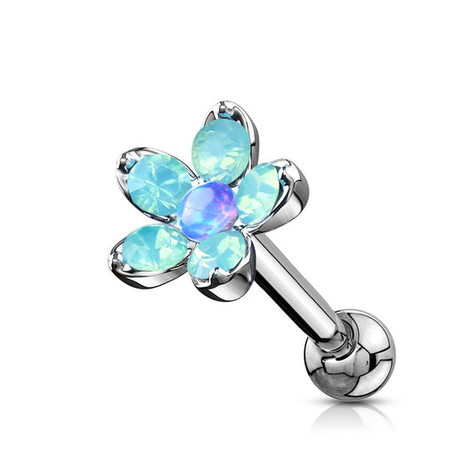 Opalite Flower With Opal Center Top Cartilage Helix Daith Tragus Studs Earrings