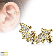 CZ Bat Wings Ear Cartilage Helix Daith Tragus Studs Earrings