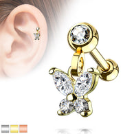 Butterfly Dangle Ear Cartilage Helix Daith Tragus Studs Earrings