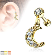 Crescent Moon Dangle Ear Cartilage Helix Daith Tragus Studs Earrings