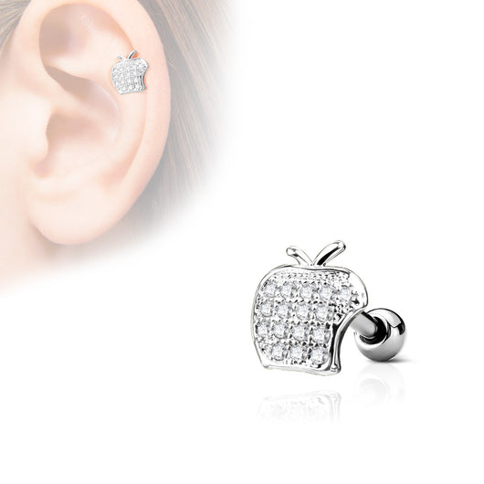 Apple Top CZ Ear Cartilage Daith Helix Tragus Barbell Stud