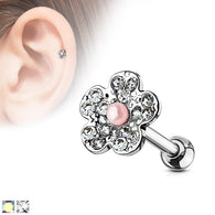 Flower with Pearl Ear Cartilage Helix Daith Tragus Studs Earrings