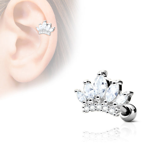 Tiara Top CZ Ear Cartilage Daith Helix Tragus Barbell Stud
