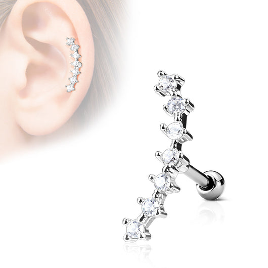CZ Curve Line Top Ear Cartilage Daith Helix Tragus Barbell Stud