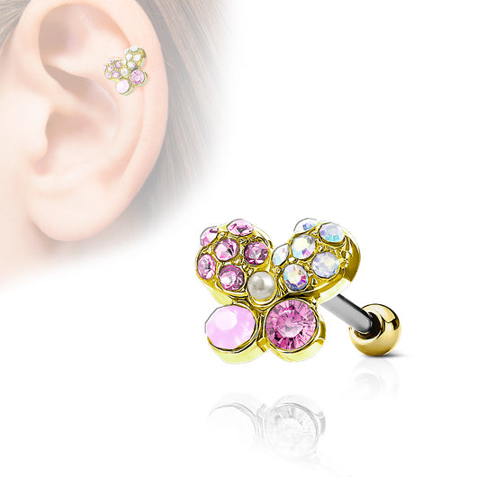 Butterfly Top CZ Ear Cartilage Daith Helix Tragus Barbell Stud