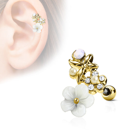 Clay Flower Top CZ Ear Cartilage Daith Helix Tragus Barbell Stud