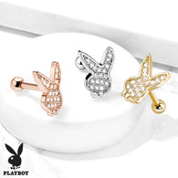 Micro CZ Paved Playboy Bunny Top Ear Cartilage Helix Daith Tragus Studs Earrings