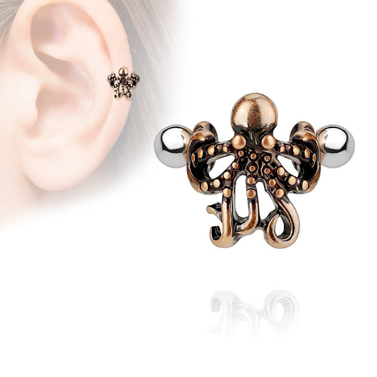 Octopus Ear Cartilage Helix Cuff Surgical Steel Barbells
