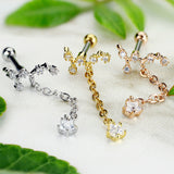 Vine Star CZ Dangle Ear Cartilage Daith Helix Tragus Barbell Stud
