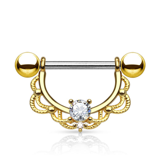 Pair of CZ Filigree 14K Gold Plated on Surgical Steel Nipple Rings